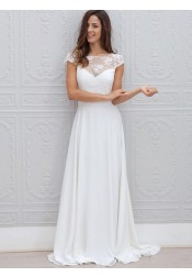 A-Line Bateau Sweep Train Open Back Chiffon Wedding Dress with Lace