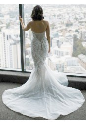 Mermaid Sweetheart Court Train Wedding Dress with Beading Pearls