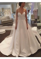 A-Line Sweetheart Court Train Ivory Satin Wedding Dress with Pleats