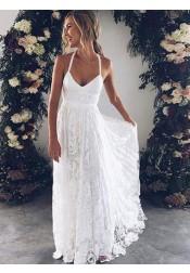 8d9d763fc42c Simple V-neck Floor-Length Open Back White Wedding Dress Ruched Sash ...