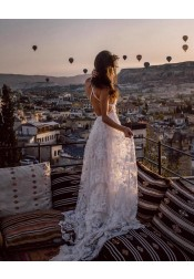 A-Line Straps Backless Court Train Lace Beach Wedding Dress