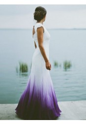 Mermaid Round Neck Open Back Purple Dip Dye Chiffon Wedding Dress