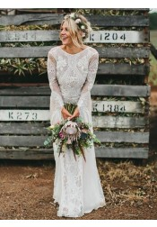 A-Line Bateau Long Sleeves Backless Chiffon Wedding Dress with Lace