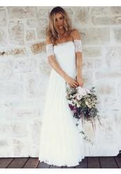 A-Line Off-the-Shoulder Short Sleeves Lace Boho Wedding Dress