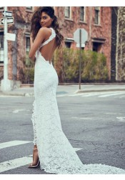 Sheath Round Neck Sweep Train Open Back Lace Wedding Dress with Split