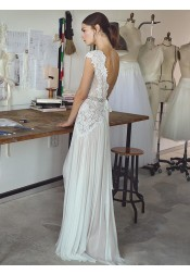 A-Line V-Neck Cap Sleeves Chiffon Wedding Dress with Lace Beading