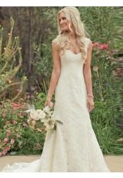 Mermaid Scoop Sleeveless Court Train Lace Wedding Dress