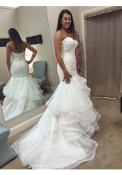 Mermaid Sweetheart Tulle Wedding Dress with Ruffles Appliques