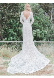 Mermaid V-Neck Long Sleeves Lace Wedding Dress