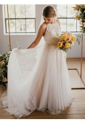 A-Line Round Neck Sweep Train Tulle Wedding Dress with Lace