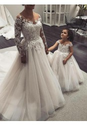 A-Line Illusion Neck Long Sleeves Tulle Wedding Dress with Appliques