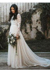 A-Line Bateau Long Sleeves Tulle Wedding Dress with Appliques