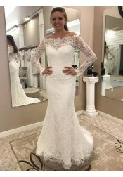 Mermaid Off-the-Shoulder Lace Wedding Dress with Long Sleeves