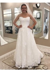 A-Line Strapless Sweep Train Lace Wedding Dress with Appliques