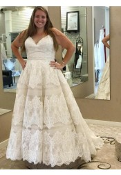 A-Line Spaghetti Straps Plus Size Wedding Dress with Appliques Sash