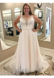A-Line Scoop Sweep Train Plus Size Wedding Dress with Lace Beading