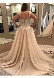 A-Line Scoop Court Train Plus Size Wedding Dress with Lace Beading