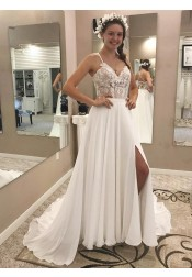 A-Line Spaghetti Straps Chiffon Wedding Dress with Lace Split