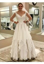 A-Line V-Neck Asymmetry Train Chiffon Wedding Dress with Lace