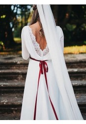 A-Line Bateau Chapel Train 3/4 Sleeves Wedding Dress with Lace Sash