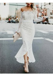Mermaid Off-the-Shoulder High Low Lace Wedding Dress with Long Sleeves
