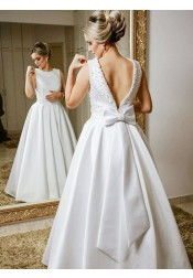 A-Line Round Neck Pleated Floor Length Wedding Dress with Beading