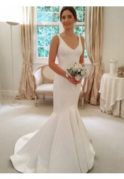 Mermaid Scoop Sweep Train Sleeveless Satin Wedding Dress