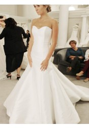 Mermaid Sweetheart Sweep Train Elegant Satin Wedding Dress
