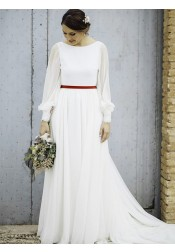 A-Line Bateau Sweep Train Long Sleeves Chiffon Wedding Dress with Sash