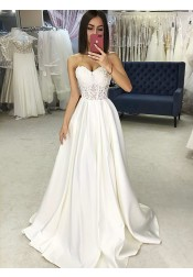 A-Line Sweetheart Sweep Train Satin Wedding Dress with Appliques