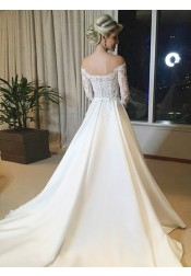 A-Line Off-the-Shoulder Long Sleeves Satin Wedding Dress with Lace