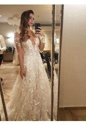 A-Line Deep V-Neck Court Train Long Sleeves Ivory Tulle Wedding Dress with Appliques