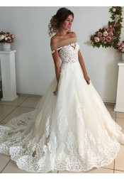 A-Line Off-the-Shoulder Court Train Sleeveless Ivory Tulle Wedding Dress with Appliques