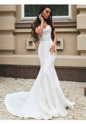 Mermaid Sweetheart Sweep Train Lace Wedding Dress with Beading