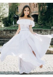 A-Line Off-the-Shoulder Boho Beach Wedding Dress with Ruffles