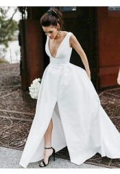 A-Line Scoop Sweep Train Sleeveless Satin Wedding Dress with Split