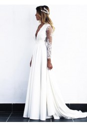A-Line V-Neck Open Back Long Chiffon Wedding Dress with Sleeves