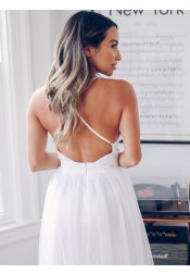 A-Line Deep V-Neck Crisscross Back Sweep Train Wedding Dress