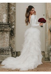 A-Line Round Neck Asymmetric Train Tulle Wedding Dress with Long Sleeves