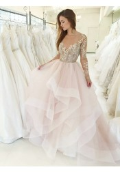 A-Line Bateau Asymmetric Train Pink Wedding Dress with Appliques Long Sleeves