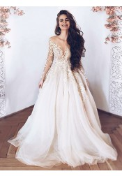 A-Line Illusion Neck Long Sleeves Light Champagne Tulle Wedding Dress with Appliques