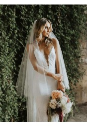 Mermaid Spaghetti Straps Low Cut Backless Lace Wedding Dress
