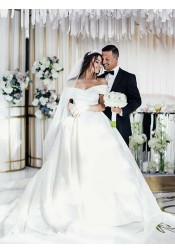 Elegant Off Shoulder Ball Gown Wedding Dress