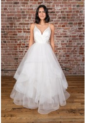 A-line V-neck Straps Floor Length White Satin Wedding Dress with Cascading Ruffles