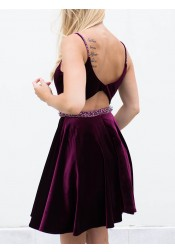 A-line Straps Short Velvet Homecoming Dress with Beadings