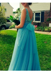 A-Line Bateau Sleeveless Floor-Length Backless Beading Prom Dress with Bow