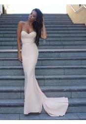 Mermaid Sweetheart Zipper-Up Sweep Train Ivory Prom Dress