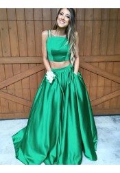 Two Piece Square Neck Sleeveless Sweep Train Green Satin Prom Dress  with Pockets