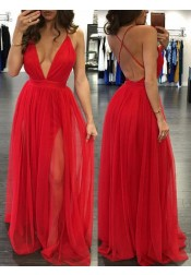 A-Line Deep V-neck Floor-Length Backless Red Prom Dress with Ruched