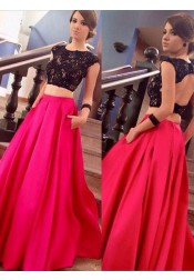 Two Piece Crew Sweep Train Open Back Fuchsia Satin Prom Dress with Appliques Beading